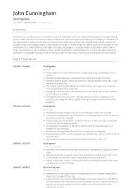 Site Engineer - Resume Samples & Templates | VisualCV 30 Resume Examples View By Industry Job Title 10 Real Marketing That Got People Hired At Nike How To Write A Perfect Food Service Included Phomenal Forager Sample First Out Of College High School And Writing Tips Work Experience New Free Templates For Students With No Research Analyst Samples Visualcv Artist Guide Genius Administrative Assistant Example 9 Restaurant Jobs Resume Sample Create Mplate Handsome Work