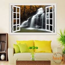 28 wall mural decals nature green meadow 3d window view