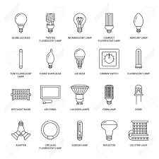 light bulbs flat line icons led ls types fluorescent