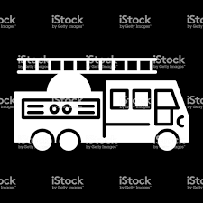 Fire Truck With Ladder Solid Icon Vector Illustration Isolated On ...