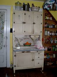 What Is A Hoosier Cabinet Worth by Furniture Antique White Wooden Hoosier Cabinet With Black Handle