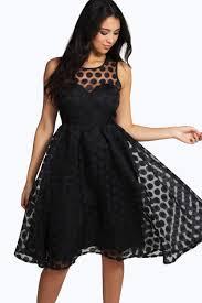 boutique lola organza polka dot skater dress boohoo