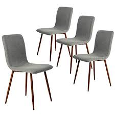 Coavas Kitchen Dining Chairs Set Of 4 Fabric Cushion Side With Sturdy Metal Legs For