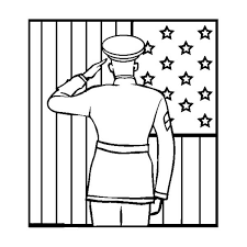 An Officer Giving Salute To US Flag On Celebrating Veterans Day Coloring Page
