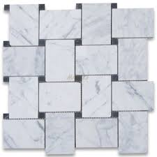 carrara white large basketweave mosaic tile w black dots honed