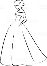 Sketch of an elegant bride in white wedding dress royalty free sketch of an elegant