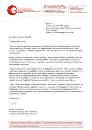 Carta De La ISP Interaméricas Al Rector De La Universidad Andina
