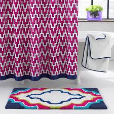 Navy Geometric Pattern Curtains by Border Pink Geometric Chevron Pattern Shower Curtain