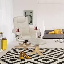 amstyle comfort duo fernsehsessel aus kunstleder in beige tv sessel mit getränkehalter relaxsessel drehbar hocker