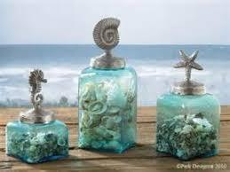 recycled glass soap dispenser beach sea glass blue bathroom blues