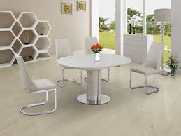 100 White Gloss Extending Dining Table And Chairs Annular Round Cream High