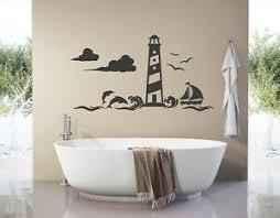 wandtattoo badezimmer leuchtturm wandsticker bad fische