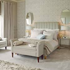 Wheat Laura Ashley Bedding With Olive Headboard On Floor Matched Wallpaper For Bedroom