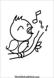 Bird Singing Coloring Page
