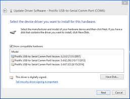 how to install prolific usb to serial driver on windows 8
