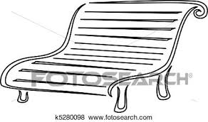 Clip Art of Park bench contours k Search Clipart