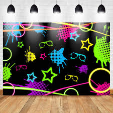 Mocsicka Lets Glow Party Backdrop 7x5ft Hip Hop Neon Party Decoration Photo Backdrop Graffiti Wall 80s 90s Photography Background