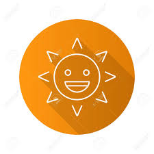 Laughing Sun Smile Flat Linear Long Shadow Icon Good Mood Happy Face With