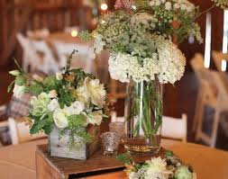 Vase Awesome Rustic Wedding Decorations Glass And Wooden Flower White Centerpieces Brown Space Triple Small Candle Round