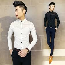 Mens Designer Dress Shirts Suppliers 2017 Korean Fashion Slim Fit Lace Shirt Long Sleeve Men Casual Clothes Black White