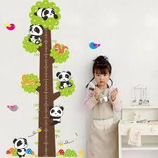 stickers panda chambre bébé 125 cm mignon panda arbre oiseaux hauteur mesure croissance tableau