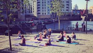 Seated Yoga Outdoor Cropped Leeds Dock