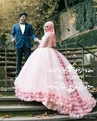 pink muslim hijab ball gown wedding dresses 2018 3d flowers