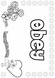 Obey Coloring Page Are You Looking For O P Q Names Fo Girls Posters Hellokids Has Selected This Lovely