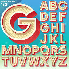 Vector Retro Alphabet For Summer Typography Design Simple Bold Style Upper Cases Stock