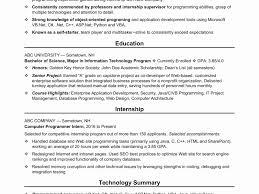 Computer Science Graduate Internship Resume Sample Best Puter Template Example Frightening