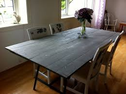 Dining Room Interior Simple Diy Gray Painted Wood Reclaimed Table Furniture Design