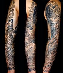 Black Grey Japanese Koi Sleeve Tattoo