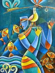 Radha Krishna Modern Art Paintings Por Amor Al Arte Ashok Pintor Figurativo Indio