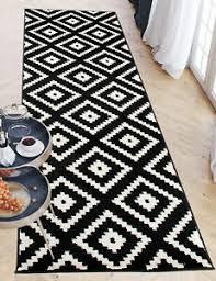 details zu läufer schwarz weiß designer modern muster trellis küche teppich flur diele