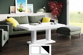 design couchtisch tisch h 120 weiß hochglanz stufenlos höhenverstellbar ausziehbar esstisch