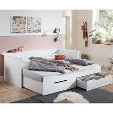 funktionsbett jugendbett gästebett lina 13 weiß lackiert liegefläche 90 180x200 cm ausziehbar 2 schubladen b h t ca 208 71 5 224cm