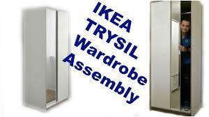 Ikea Trysil Dresser Hack by Ikea Wardrobe Trysil White Mirror Assembly Youtube