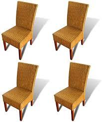 festnight 4er set esszimmerstühle essstuhl küchenstuhl essstühle aus rattan und holz sitzgruppe 47x50x97cm stuhl set für küche oder esszimmer braun