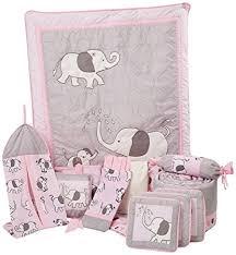 amazon com boutique pink gray elephant 13pcs crib bedding sets