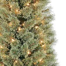 Slim Pre Lit Christmas Trees 7ft by 7 Ft Pre Lit Green Pencil Cashmere Artificial Christmas Tree