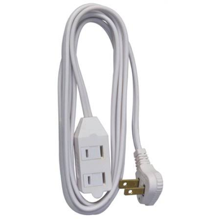 Master Electrician Vinyl Low Profile Cube Tap Extension Cord - White, 7'