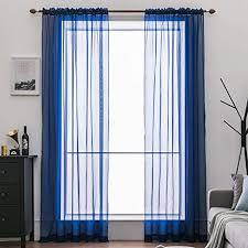 miulee 2er set voile vorhang transparente gardine aus voile polyester schlaufenschal transparent wohnzimmer luftig dekoschal für schlafzimmer