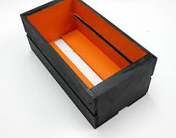 Using A 3 4 Flat Brush Paint The Inside Of Wooden Crate In Jack O Lantern Orange And Outside Lamp Black