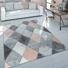 kurzflor teppich wohnzimmer pastell rauten 3 d