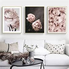 doludo wandkunst dekoration rosa blume leinwand kunst poster 3 stück set bild wandkunst malerei home wohnzimmer dekoration 30x50cmx3 mit rahmen