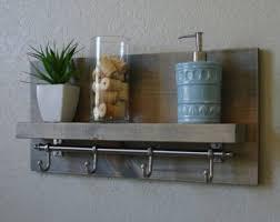 Simply Modern Rustic Bathroom Shelf With Satin Nickel Rail Towel Hooks