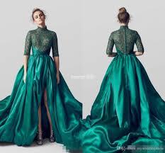 emerald green high neck split evening dresses half long sleeves