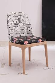 [Hot Item] French Style Newspaper Pattern Printed Fabric Dining Chairs  Modern Living Room Chair Direct Sale