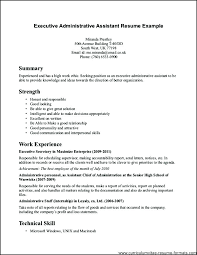 Secretary Resume Format For Back Office Executive Administrative Examples Charming Good Sample Front Company Trainee
