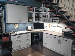 Home Office And Man Cave Created From Space Under The Basement Stairs